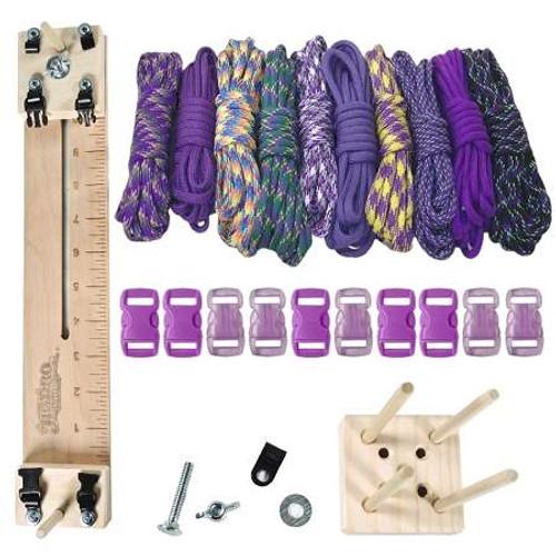 "Paracord Crafting Kit w/ 10"" Pocket Pro Jig & Monkey Form - Purple"