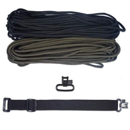 "DIY 43"" King Cobra 550 LB Paracord Strap - Olive Drab & Black"