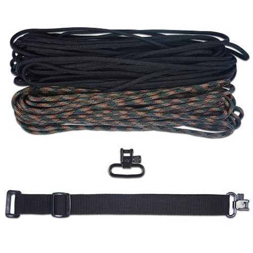 "DIY 43"" King Cobra 550 LB Paracord Strap - Woodland Camo & Black"