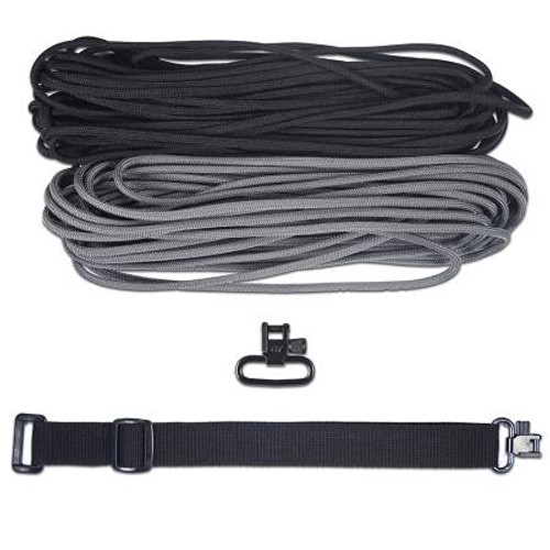 "DIY 43"" King Cobra 550 LB Paracord Strap - Charcoal Gray & Black"