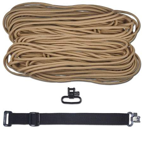"DIY 43"" King Cobra 550 LB Paracord Sling/Strap - Tan w/ Black Webbing"