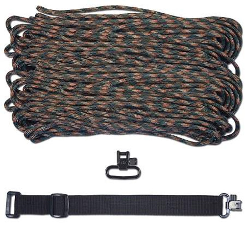 "DIY 43"" King Cobra 550 LB Paracord Strap - Woodland Camo"