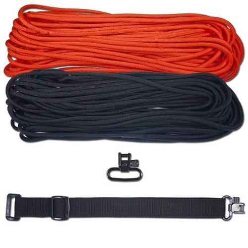 """DIY 43"""" King Cobra 550 LB Paracord Strap - Neon Orange & Black"""