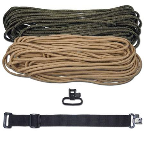 "DIY 43"" King Cobra 550 LB Paracord Strap - Olive Drab & Tan"