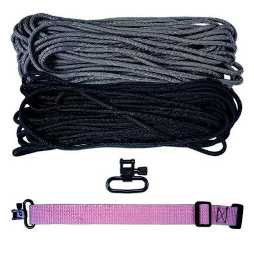 "DIY 43"" King Cobra 550 LB Paracord Strap - Black & Charcoal Gray"