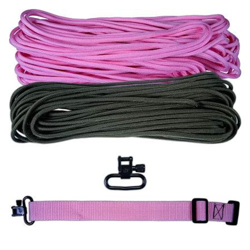 "DIY 43"" King Cobra 550 LB Paracord Strap - Rose Pink & Olive Drab"
