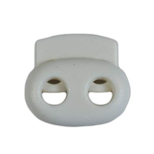 2-Hole Bean Cord Lock - White