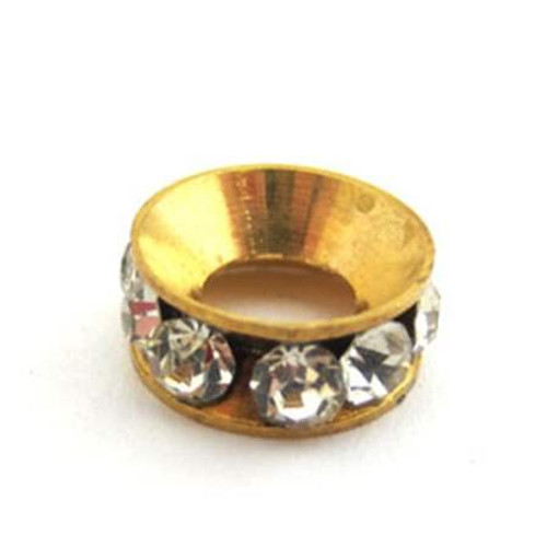 Gold Brass Spacer with Rhinestone