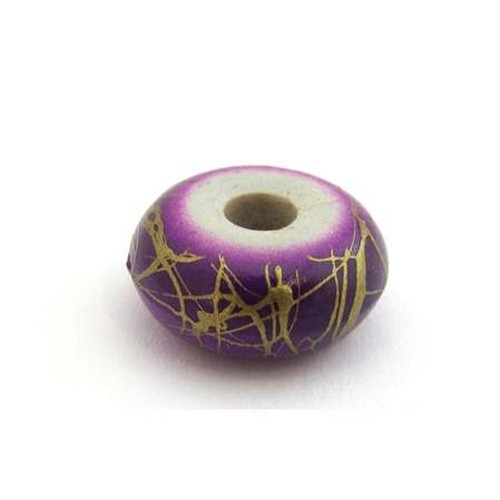 Gold Scribble Rondelle Bead - Purple