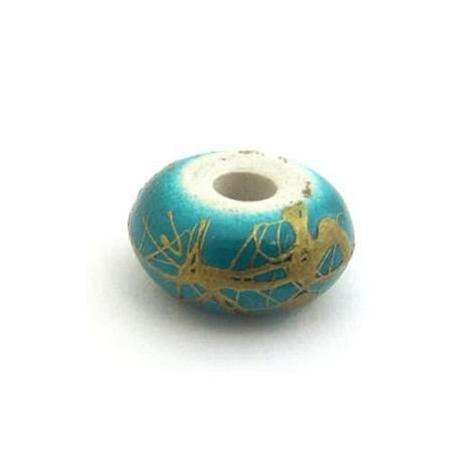 Gold Scribble Rondelle Bead - Teal