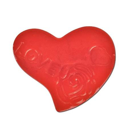 Acrylic Heart Spacer Bead - Red