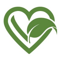 Vegan heart and leaf icon.