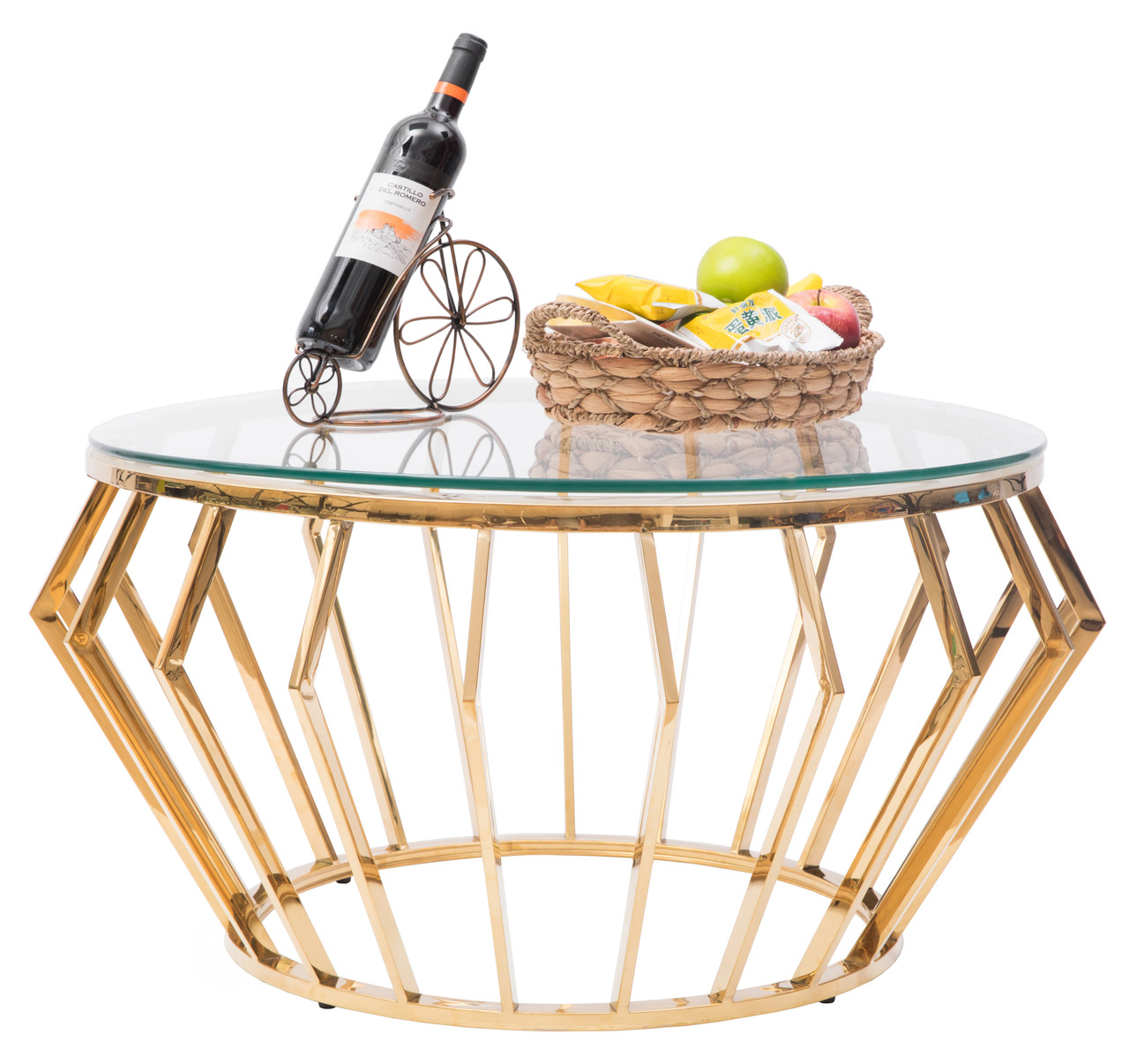 Round Shaped Glass Gold Stainless Steel Metal Modern Coffee Table Bold Tones