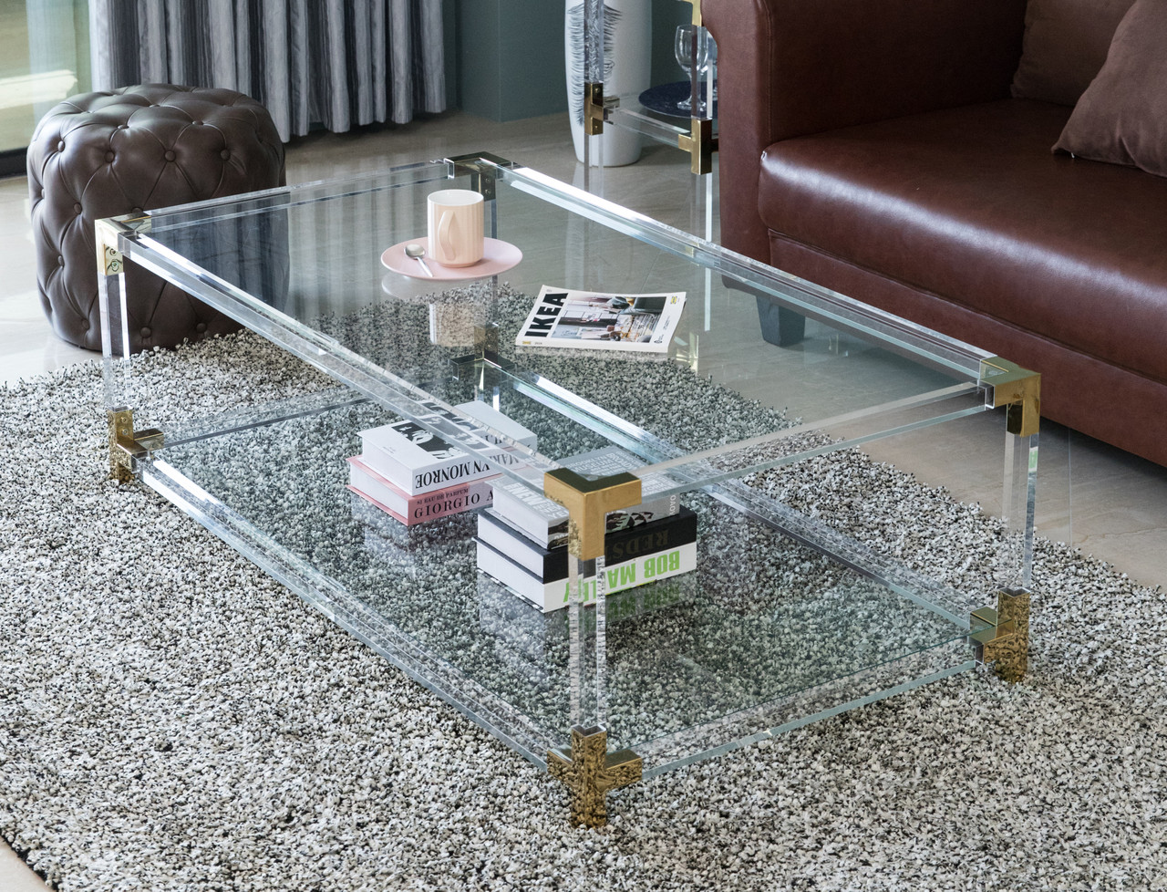 Rectangular Acrylic Modern Gold Metal Coffee Table With Tempered Glass And Shelf Bold Tones
