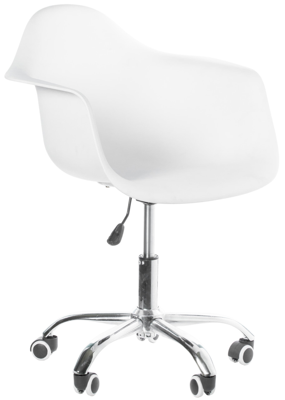 Image of: Mid Century Modern Style Swivel Plastic Shell Molded Office Task Chair With Rolling Wheels Bold Tones