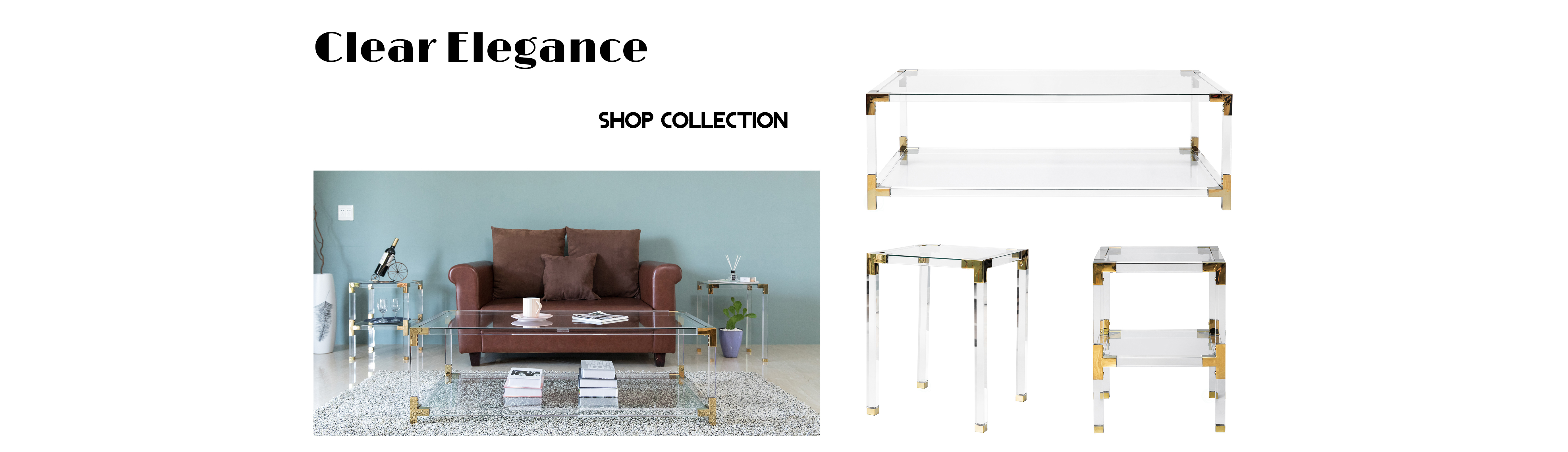gold acrylic coffee table set