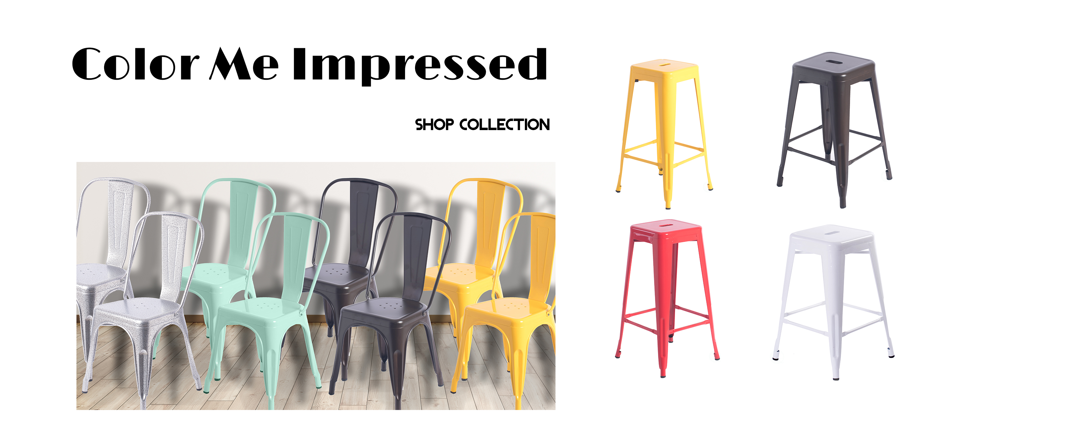 colorful metal chairs and stools