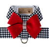 Susan Lanci Black and White Houndstooth Red Nouveau Bow Tinkie Harness