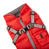 NYD Harness Coat in red close up