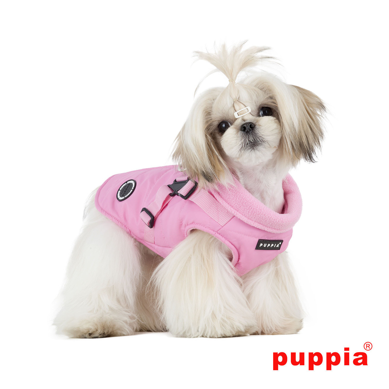 Puppia Mountaineer Coat in pink on dog model