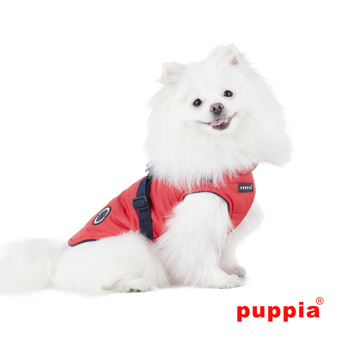 Puppia Mountaineer Coat in red on dog model