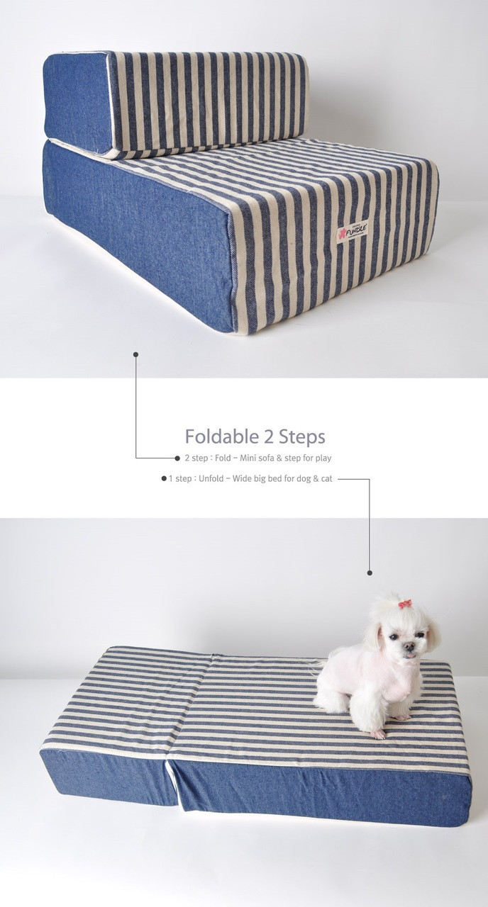 Denim Stripe Convertible Stairs/Bed by Fundle