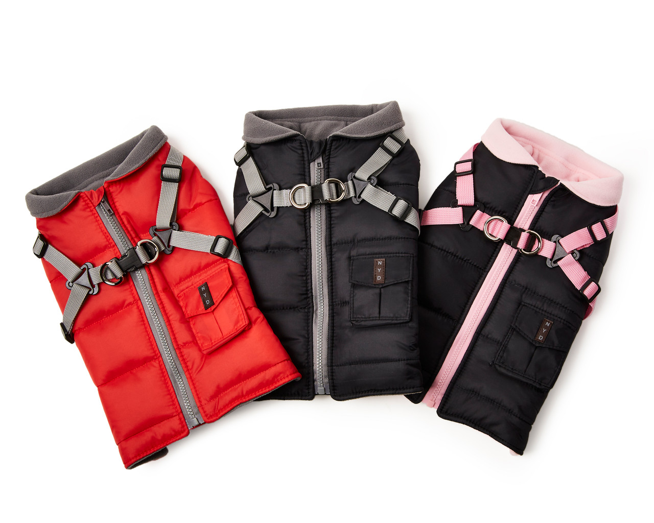 NYD Harness Coat in 3 colors: red/gray, black/gray, black/pink