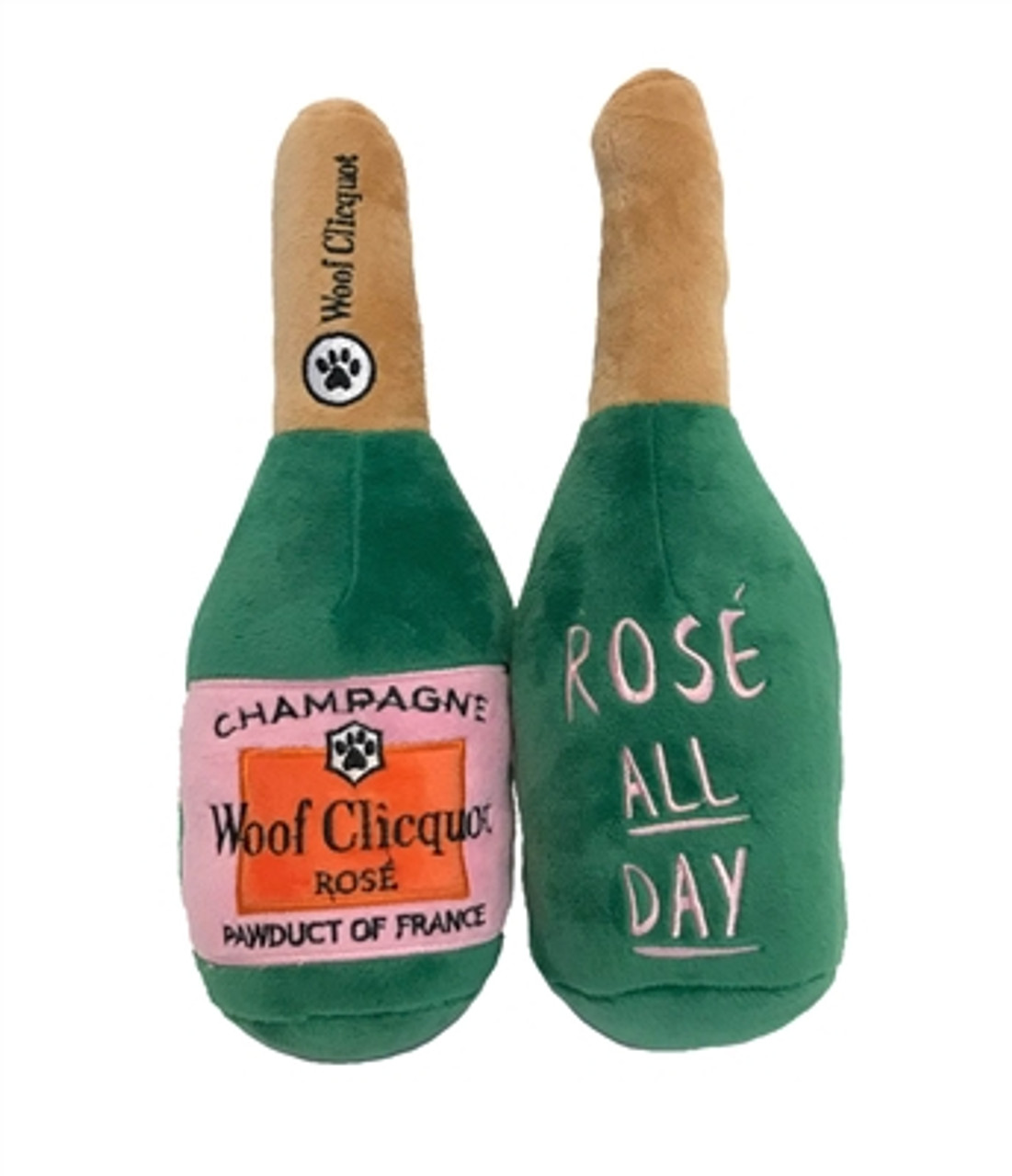 Woof Clicquot Rose' Champagne Bottle Plush Toy