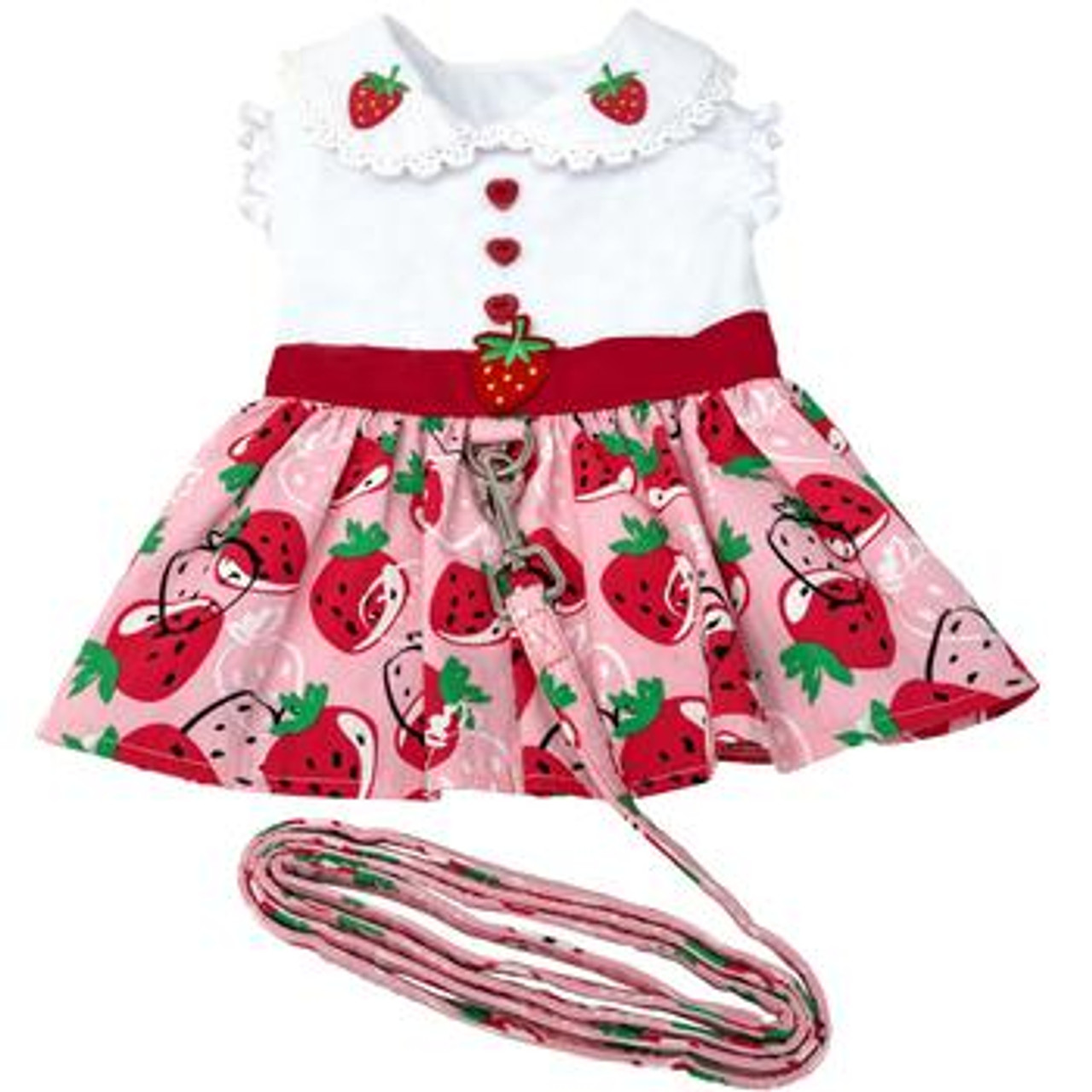 Strawberry Picnic Harness Dress with Matching Leash