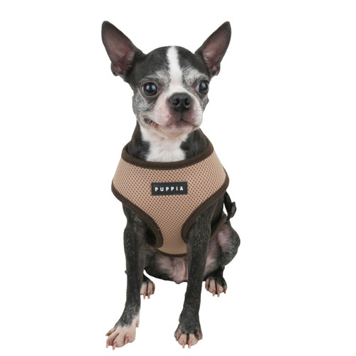 Puppia Soft Mesh Harness in beige on dog model