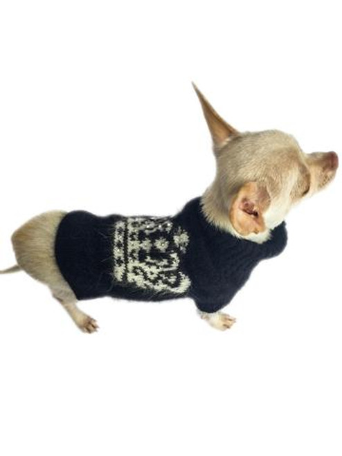 Dog Squad Diana Black & White Crown Turtleneck with Rhinestones