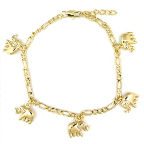 14k Gold Plated Elephant Dangling Charms Bracelet Anklet