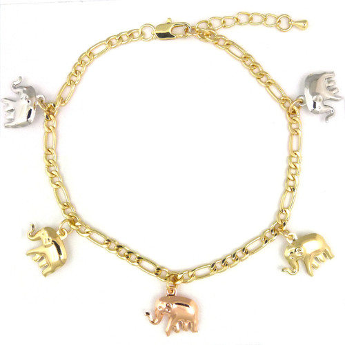 14k Gold Plated 3-Tone Elephants Dangling Charms Bracelet-Anklet