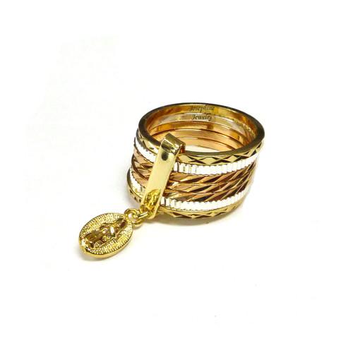 14k Gold Plated Virgen de Guadalupe Charm 3 Tone Semanario Ring
