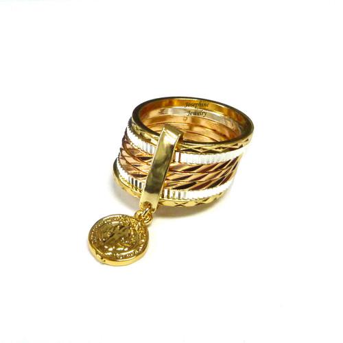 14k Gold Plated Saint Benedict Charm 3 Tone Semanario Ring