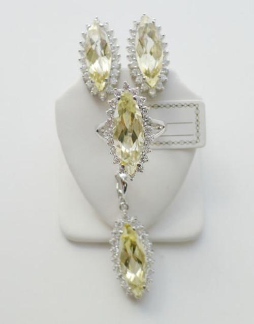 925 Silver Diamond Shape Quartz CZ Set