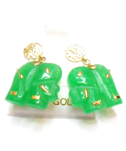 "14k Solid Gold ""Good Fortune"" Elephant Earrings"
