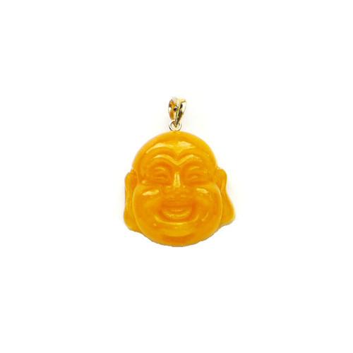 "14k Solid Gold Bail Yellow Jade Buddha Head Pendant with ""Longevity"" Chinese Symbol"