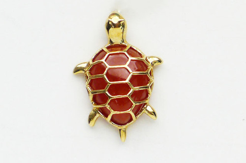14K Solid Gold Cutout Design Red Jade Turtle