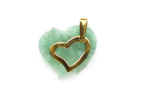 14K Solid Gold Bail Heart Jade Pendant