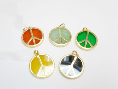 14K Solid Gold Jade Pendant - Peace Sign