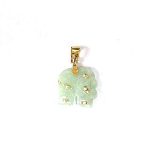 14K Solid Gold Small Elephant Pendant