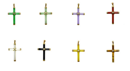 14k Solid Gold Bail Small Natural Stone Cross Pendant