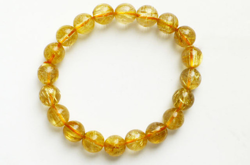 Gold Rutilated Quartz Bead Stretchy Bracelet