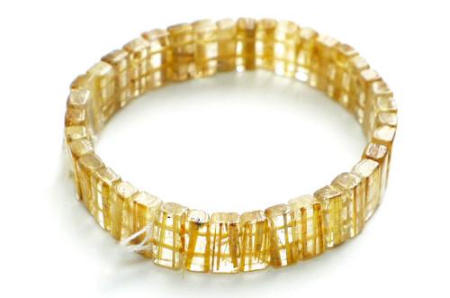 Gold Rutilated Quartz Rectangle Stretchy Bracelet