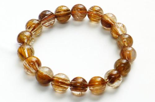 Bronze Rutilated Quartz Bead Stretchy Bracelet