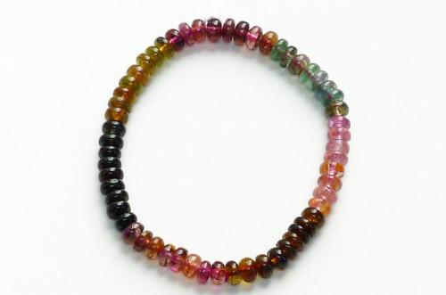 Rainbow Tourmaline Small Bead Stretchy Bracelet