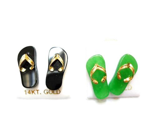 14K Gold Bail Sandal Earrings