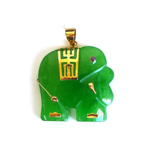14K Gold Decorative Elephant Pendant