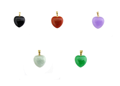 14k Solid Gold Bail Small Heart Jade Charm Pendant